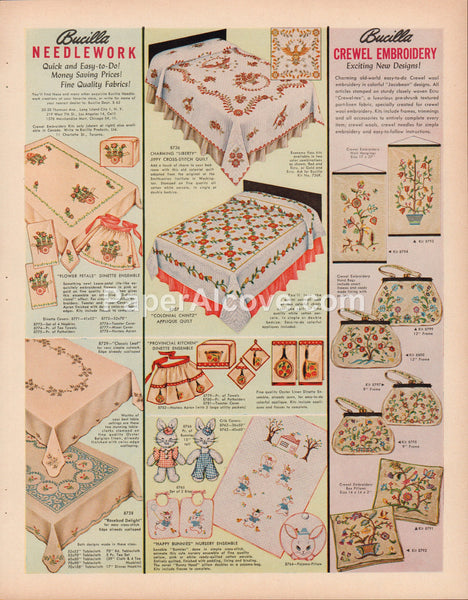 Bucilla Needlework and Crewel Embroidery 1962 vintage original old magazine ad  tablecloth napkins purses bedding linens