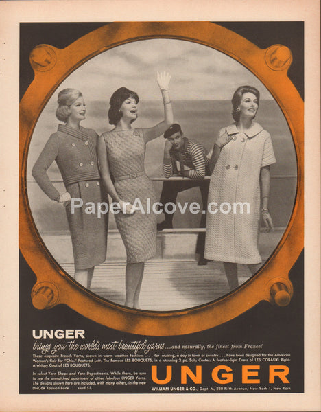 William Unger yarns 1962 vintage original old magazine ad Les Bouquets Coraux porthole French sailor
