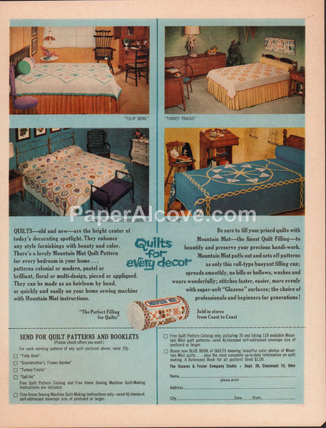 Stearns & Foster Mountain Mist quilt patterns 1962 vintage original old magazine ad Tulip Bowl Turkey Tracks Sail Ho