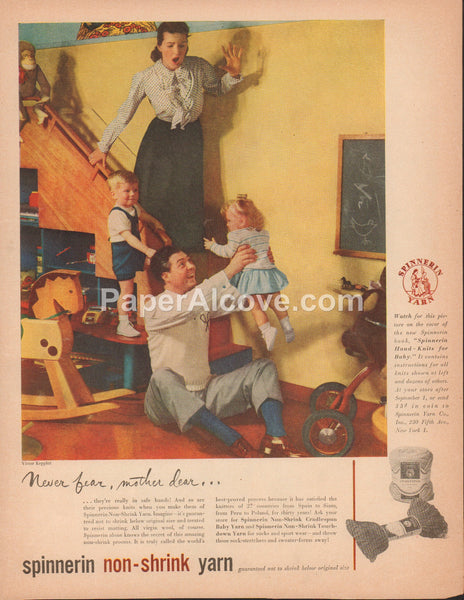 Spinnerin Non-Shrink Yarn 1948 vintage original old magazine ad Victor Keppler man in tennis sweater playing with kids