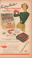 Hero Standard Knitting Needles and Crochet Hooks store display 1948 vintage original old magazine ad Middleboro MA