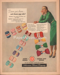 American Thread Company Dawn Clover Leaf Wools 1948 vintage original old magazine ad woman green dress