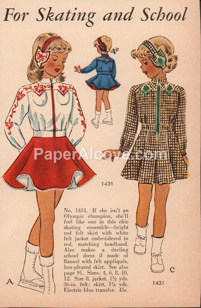 For Skating and School 1948 vintage original old magazine ad girl's dresses patterns ice skates
