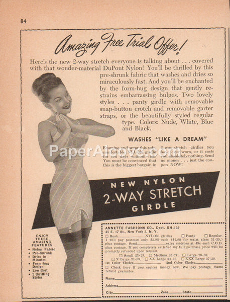 2-Way Stretch Girdle Annette Fashions 1948 vintage original old magazine ad lingerie DuPont Nylon