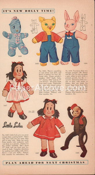 Little Lulu and sock dolls patterns 1949 vintage original old magazine ad doll clothes organ grinder monkey