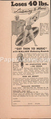 Get Thin to Music Wallace Reducing Records 1949 vintage original old magazine ad weight loss reducer scheme Chicago IL