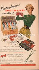 Hero Standard Knitting Needles and Crochet Hooks store display 1949 vintage original old magazine ad Middleboro MA Hero Sombrero needle point guard
