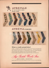 Ayrgyll Argyle Socks 1949 vintage original old magazine ad Ayr Scotch Wools Green's Farms CT Lavenda yarn