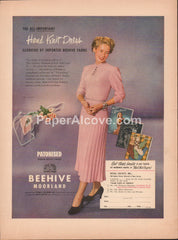 Hand Knit Dress Beehive Moorland yarns 1949 vintage original old magazine ad Royal Society Inc. Newark NJ