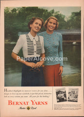 Handknit Bernat Yarns Master Dyed 1949 vintage original old magazine ad women fashion blonde brunette