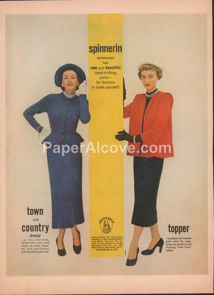 Spinnerin Town and Country Topper hand-knitting yarns 1949 vintage original old magazine ad women's fashion Yarn Co. New York