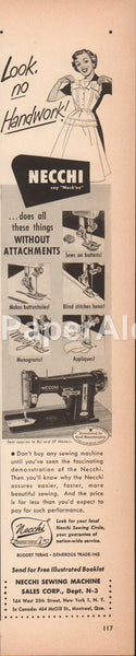 Necchi Sewing Machine 1951 vintage original old magazine ad Model BF BU