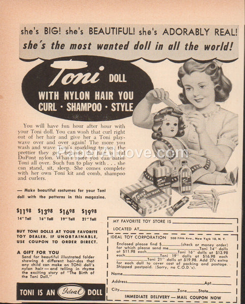 Toni Doll 1951 vintage original old magazine ad Ideal Toy Corporation