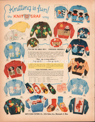 Knit-o-Graf Pattern Co. 1951 vintage original old magazine ad Knitting Children's Sweaters patterns Minneapolis MN