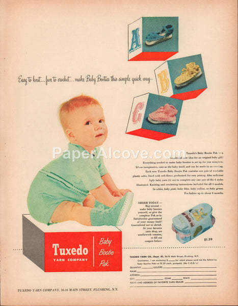 Tuxedo Yarn Company Baby Bootie Pak 1951 vintage original old magazine ad knitting crocheting baby boy Flushing NY
