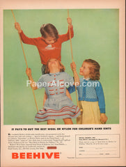 Beehive Wool Yarns 1951 vintage original old magazine ad Royal Society children's hand knits