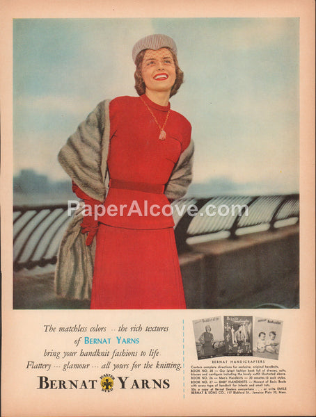 Bernat Yarns 1951 vintage original old magazine ad red women's suit fur coat Jamaica Plain MA handknit fashion