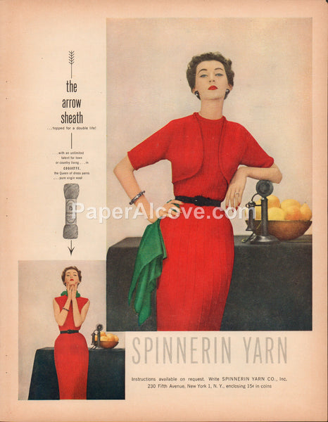 Spinnerin Yarn 1951 vintage original old magazine ad red women's dress antique candlestick telephone