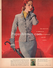 Minerva Hand-Knit Fashion Book 1951 vintage original old magazine ad James Lees and Sons Bridgeport PA