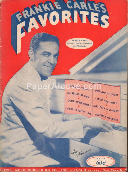 Frankie Carle's Favorites 1942 vintage sheet music book piano Jewel Music Publishing New York
