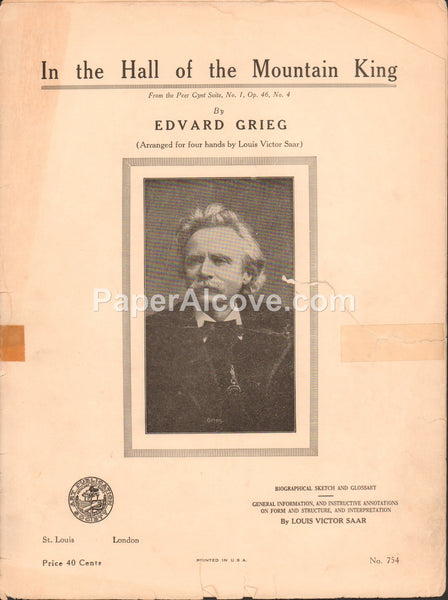 In the Hall of the Mountain King Arranged for four hands piano 1934 vintage sheet music Edvard Grieg Peer Gynt Suite