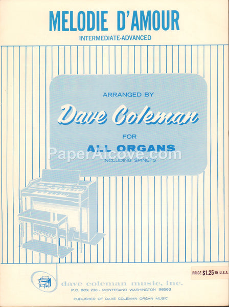 Melodie d'Amour for all organ Dave Coleman 1959 old vintage sheet music Spinets Montesano WA