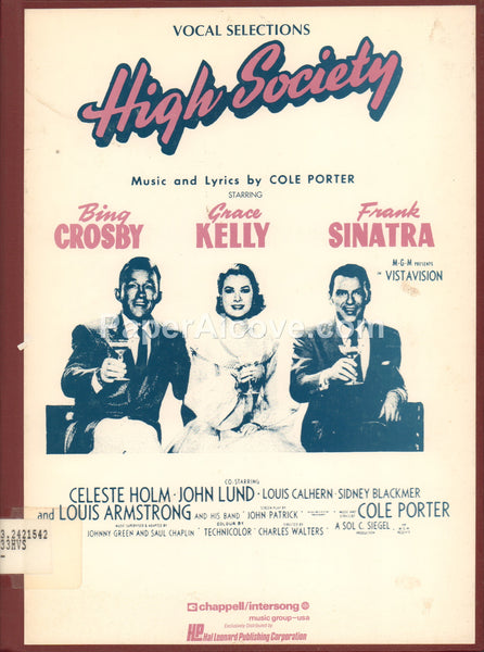 High Society Vocal Selections 1991 vintage sheet music book Cole Porter Bing Crosby Grace Kelly Frank Sinatra cover