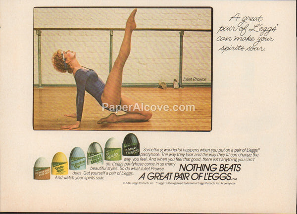 Nothing Beats a Great Pair of L'eggs pantyhose 1983 vintage original old magazine ad Juliet Prowse dance