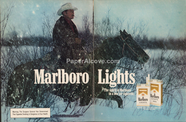 Marlboro Lights cigarettes cowboy with moustache on horse in snow 1983 vintage original old 2 page magazine ad tobacco