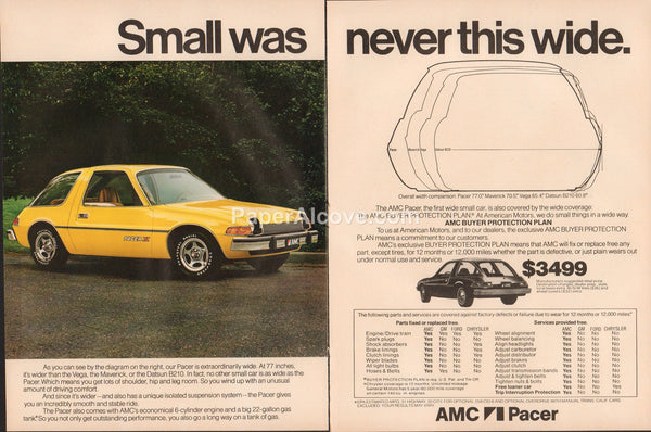 AMC Pacer Small Was Never This Wide 1976 vintage original old 2 page magazine ad car