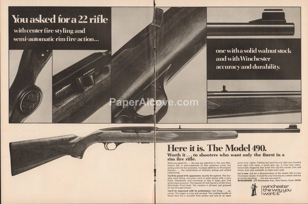 Winchester Model 490 .22 Rifle 1975 vintage original old 2 page magazine ad