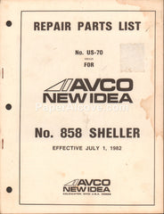 Avco New Idea No. 858 Sheller 1982 original vintage Repair Parts List No. US-70 old farm equipment