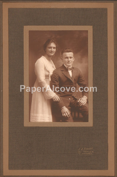 man and woman antique studio portrait photograph c. late 19th Century vintage original old photo J.J. Schmidt Cleveland Ohio