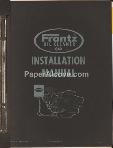 Frantz Oil Cleaner Installation Manual 1966 original vintage car manual Stockton California hot rod