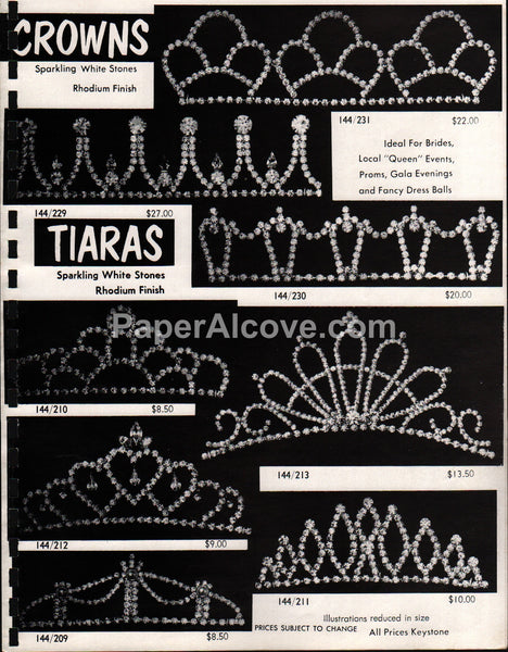 Crowns Tiaras vintage 1970s jewelry brochure