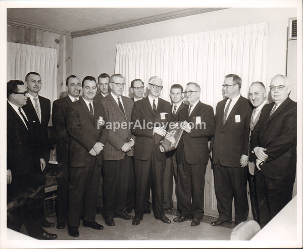 Goodyear Aerospace Corporation personnel group photo office with plaque 1960s vintage original old photograph Akron Ohio
