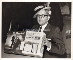 Man in Wall Street Journal Hat Goodyear Aerospace Corporation 1960s vintage original old photograph Akron Ohio Mayfair 8-Track Tape Player Paul Christman