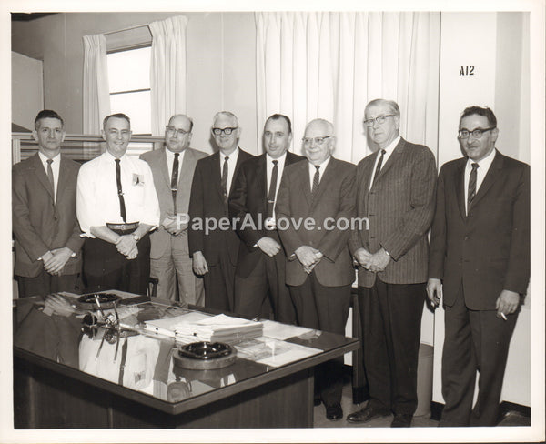 Goodyear Aerospace Corporation personnel group photo office with desk 1960s vintage original old photograph Akron Ohio