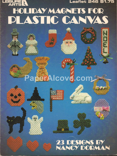 Holiday Magnets for Plastic Canvas 1983 vintage original cross stitch pattern book Leisure Arts Leaflet 246 Easter Thanksgiving Halloween
