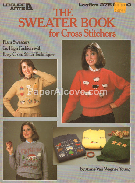 Sweater Book for Cross Stitchers 1985 vintage original cross stitch sweaters pattern book Leisure Arts Leaflet 375