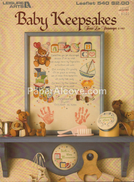 Baby Keepsakes 1987 vintage original nursery baby room cross stitch pattern book Leisure Arts Leaflet 540