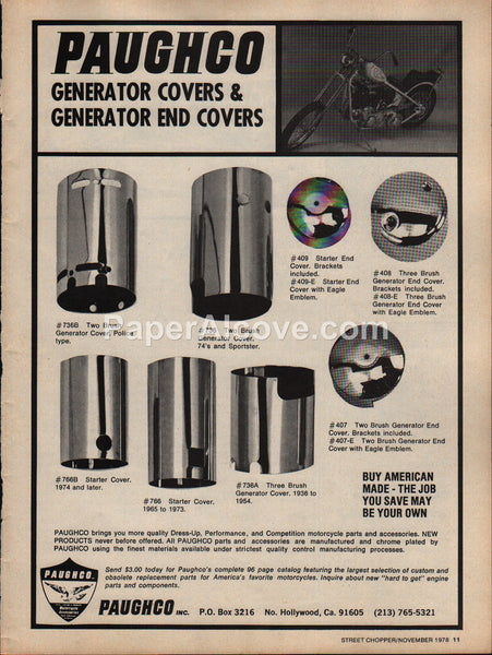 Paughco Motorcycle Generator End Covers 1978 vintage original old magazine ad