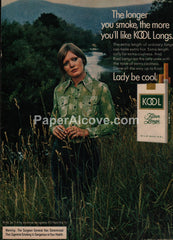 Kool Longs Cigarettes woman field 1973 vintage original old magazine ad