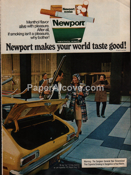 Newport Cigarettes skiing Louis Vuitton bag 1973 vintage original old magazine ad