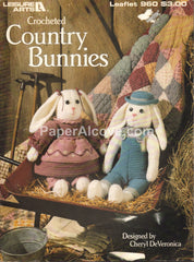 Crocheted Country Bunnies 1990 vintage original country rustic rabbits pattern book Leisure Arts Leaflet 960