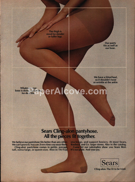 Sears Cling-alon pantyhose legs 1973 vintage original old magazine ad