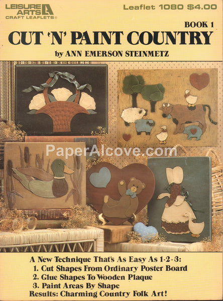 Cut 'n' Paint Country Book 1 1986 vintage original country rustic wood decor pattern book Leisure Arts Leaflet 1080