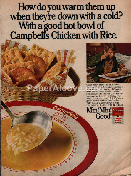 Campbell's Chicken with Rice Soup sick boy with cold 1973 vintage original old magazine ad
