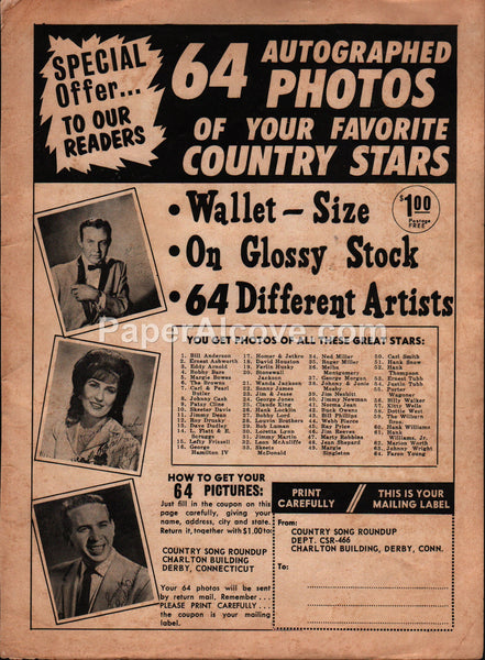 Autographed Photos of Your Favorite Country Stars 1966 vintage original old magazine ad
