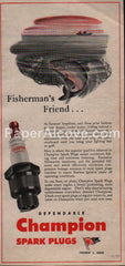Champion Spark Plugs fishing 1945 vintage original old magazine ad Toledo
